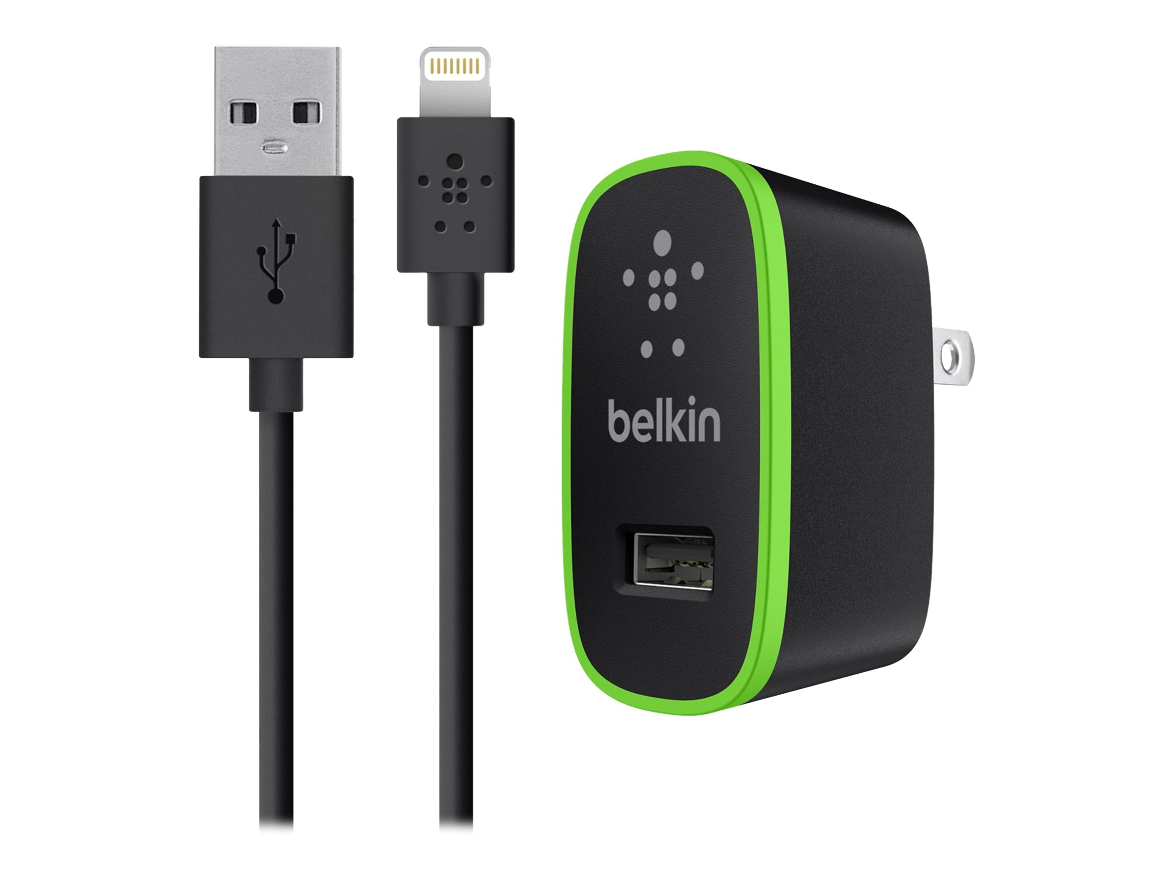 Belkin Home Charger w  Lightning Cable for iPad 10 Watt 2.1 Amp, Black, F8J052TT04-BLK, 17733075, Battery Chargers