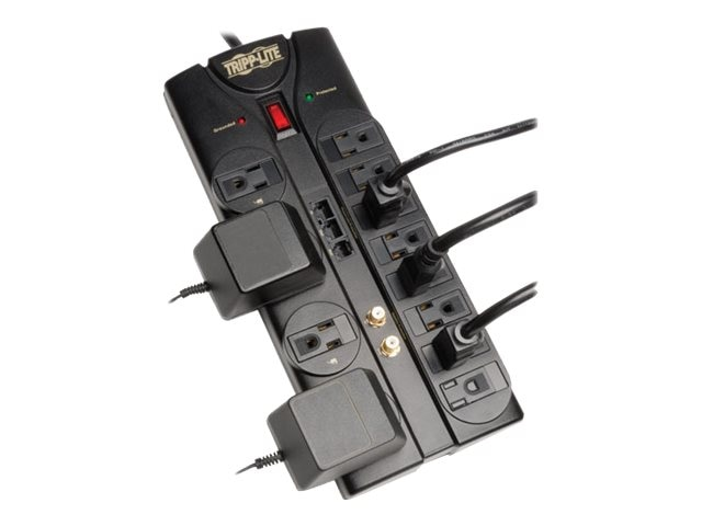 Tripp Lite Protect It! Surge Suppressor (12) Outlets, 8ft Cord, 2880 Joules Modem Fax Coax Network Protection, TLP1208SAT