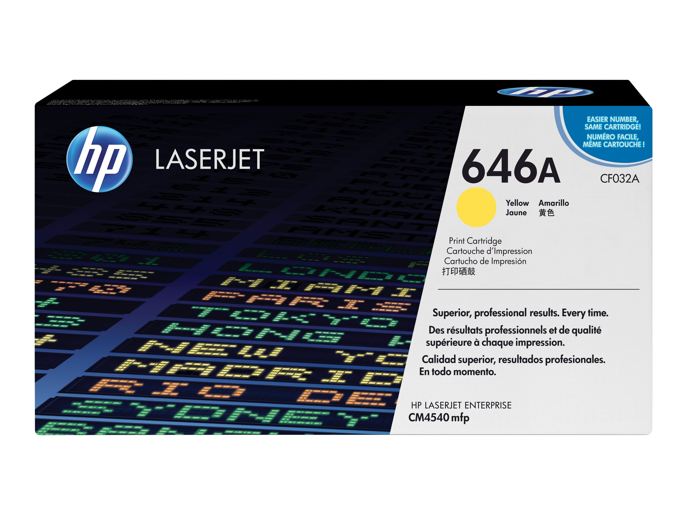 HP 646A (CF032A) Yellow Original LaserJet Toner Cartridge for HP LaserJet CM4540 MFP Series