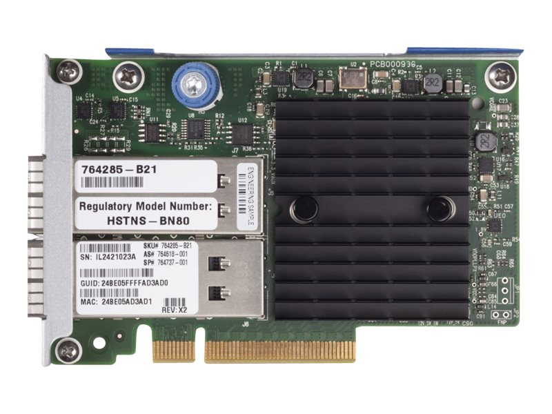 HPE InfiniBand FDR Ethernet 10Gb 40Gb 2-port 544+FLR-QSFP Adapter, 764285-B21
