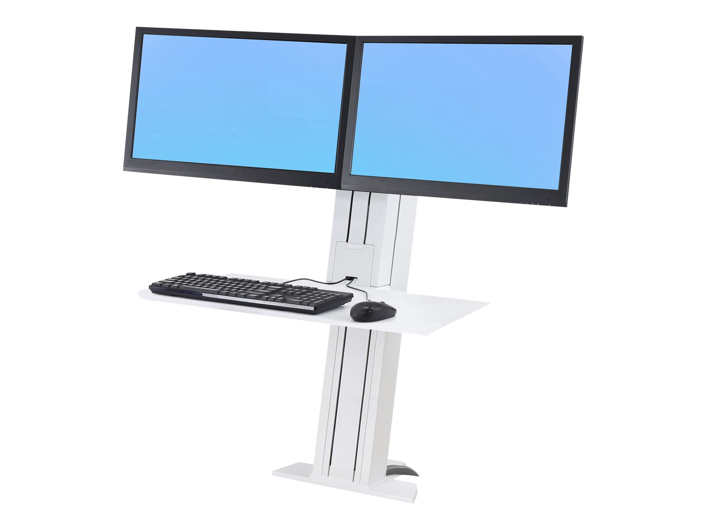 Ergotron WorkFit-SR, Dual Monitor, Sit-Stand Desktop Workstation, Short Surface, White