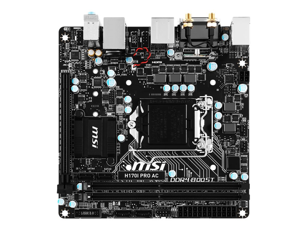 Microstar Motherboard, H170I Pro AC H170 LGA1151, H170I PRO AC, 31400218, Motherboards