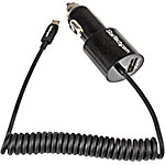 StarTech.com Dual-Port Car Charger USB w  Built-in Micro-USB Cable, Black