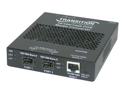 Transition Gigabit PoE Media Converter 10 100 1000 to X SFP, SGPOE1040-100, 8960268, Network Transceivers
