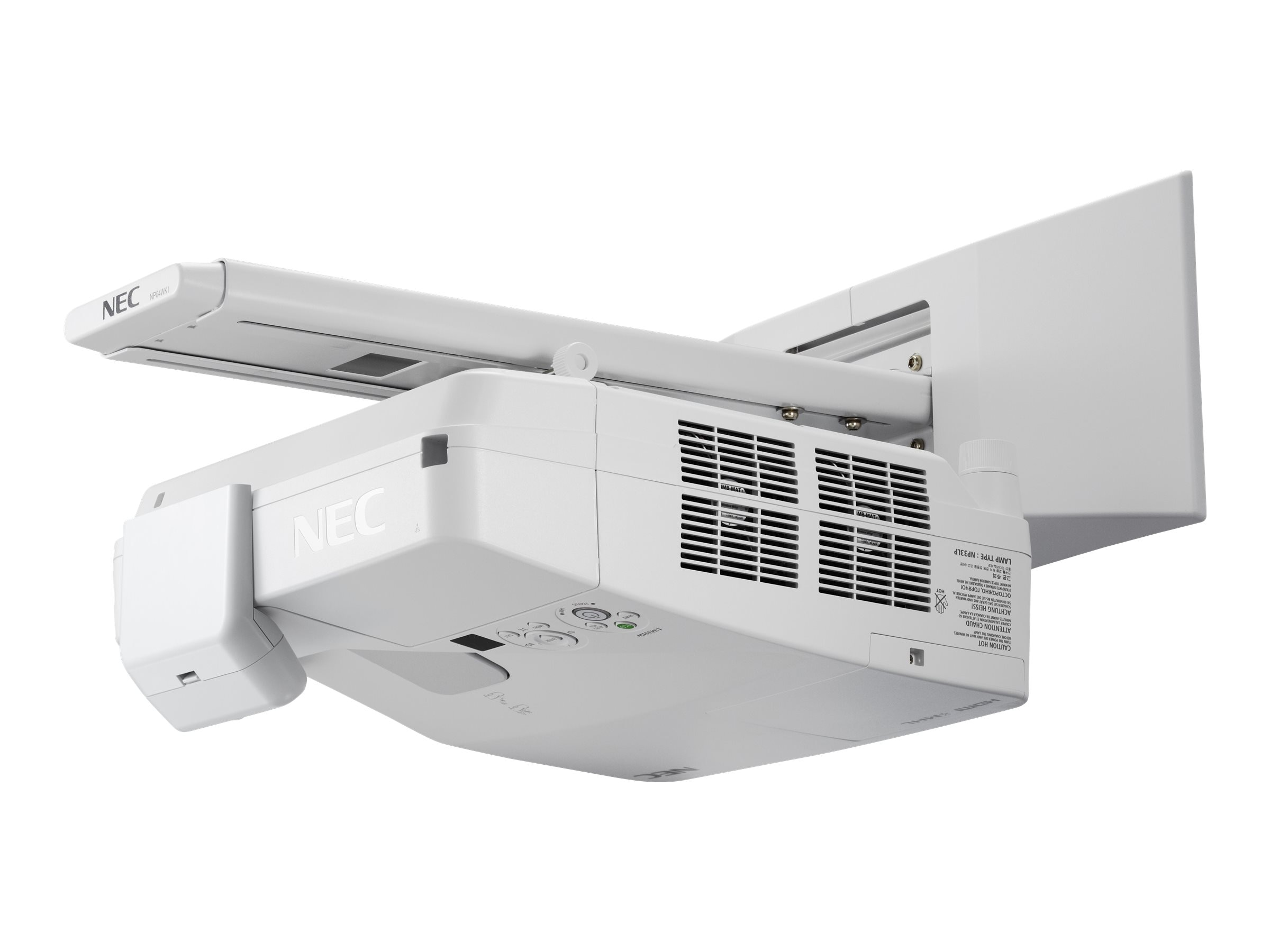 NEC UM351W Ultra Short Throw LCD Projector, 3500 Lumens, White with Wall Mount