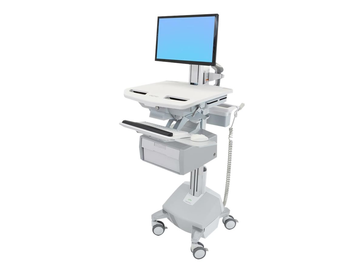 Ergotron StyleView Cart with LCD Pivot, LiFe Powered, 1 Tall Drawer, SV44-13B2-1