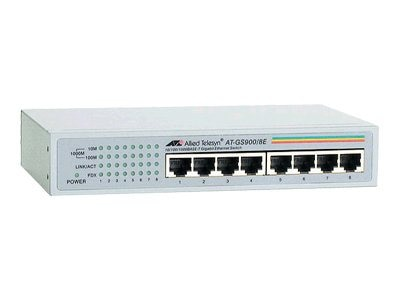 Allied Telesis 8-Port 10 100 1000BaseTX Gigabit Ethernet Unmanaged Switch with External Power Supply, AT-GS900/8E-10, 5839964, Network Switches