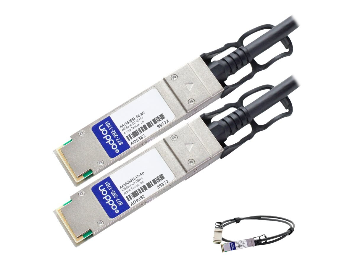 ACP-EP 40GBase-CU QSFP+ to QSFP+ Direct Attach Active Twinax Cable, 3m, AA1404031-E6-AO