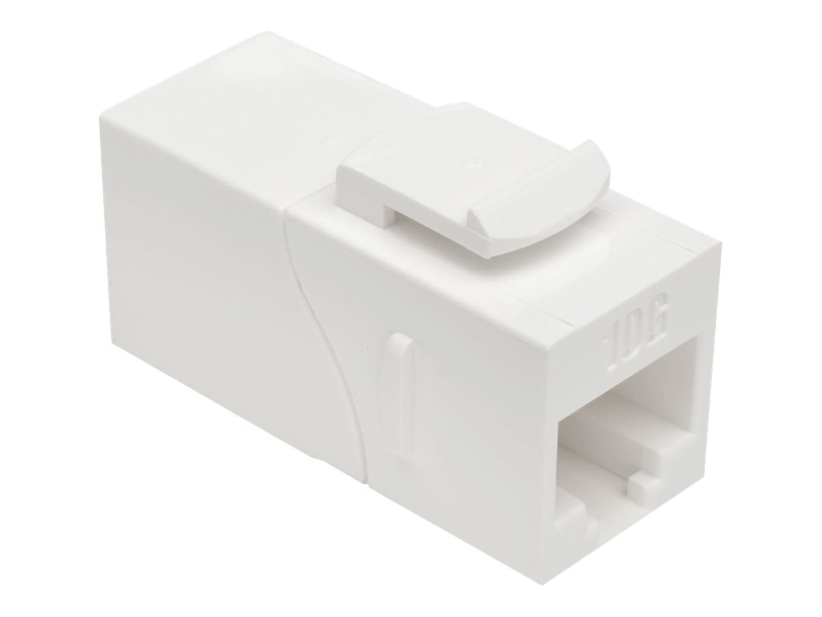 Tripp Lite Cat6a Straight-Through Modular Shielded In-Line Snap-In Coupler w  90-Degree Down-Angled Port, White