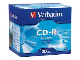 Verbatim 52X 700MB(80mins) Branded CD-R Media (20-pack Slim Jewel Cases), 94936, 6328533, CD Media