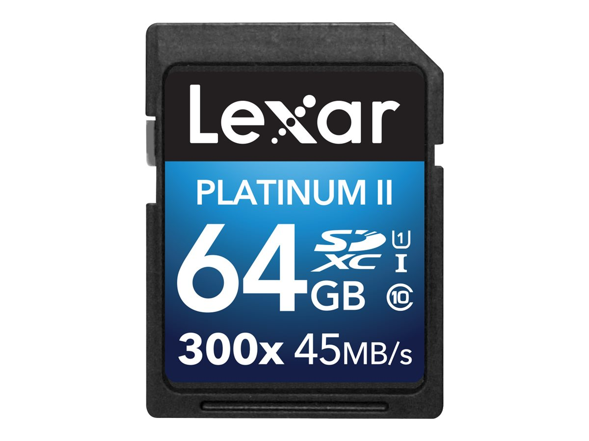 Lexar 64GB Platinum II UHS-I 300x SDXC Flash Memory Card, Class 10, LSD64GBBNL300, 30357641, Memory - Flash
