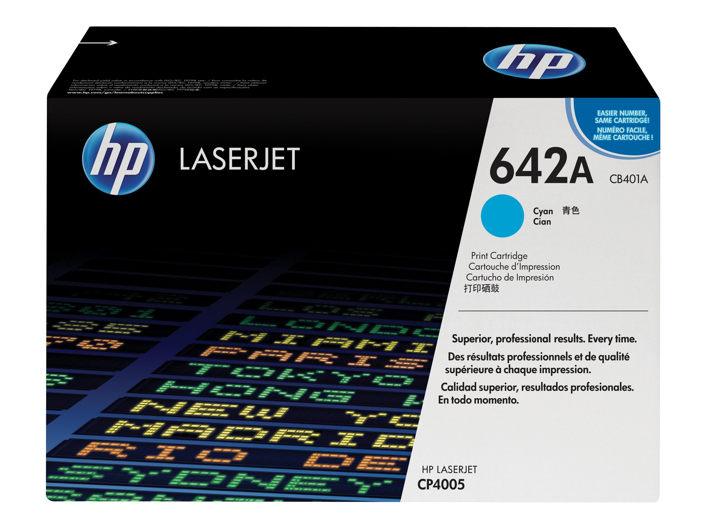 HP 642A (CB401A) Cyan Original LaserJet Toner Cartridge for HP LaserJet CP4005 Printer, CB401A