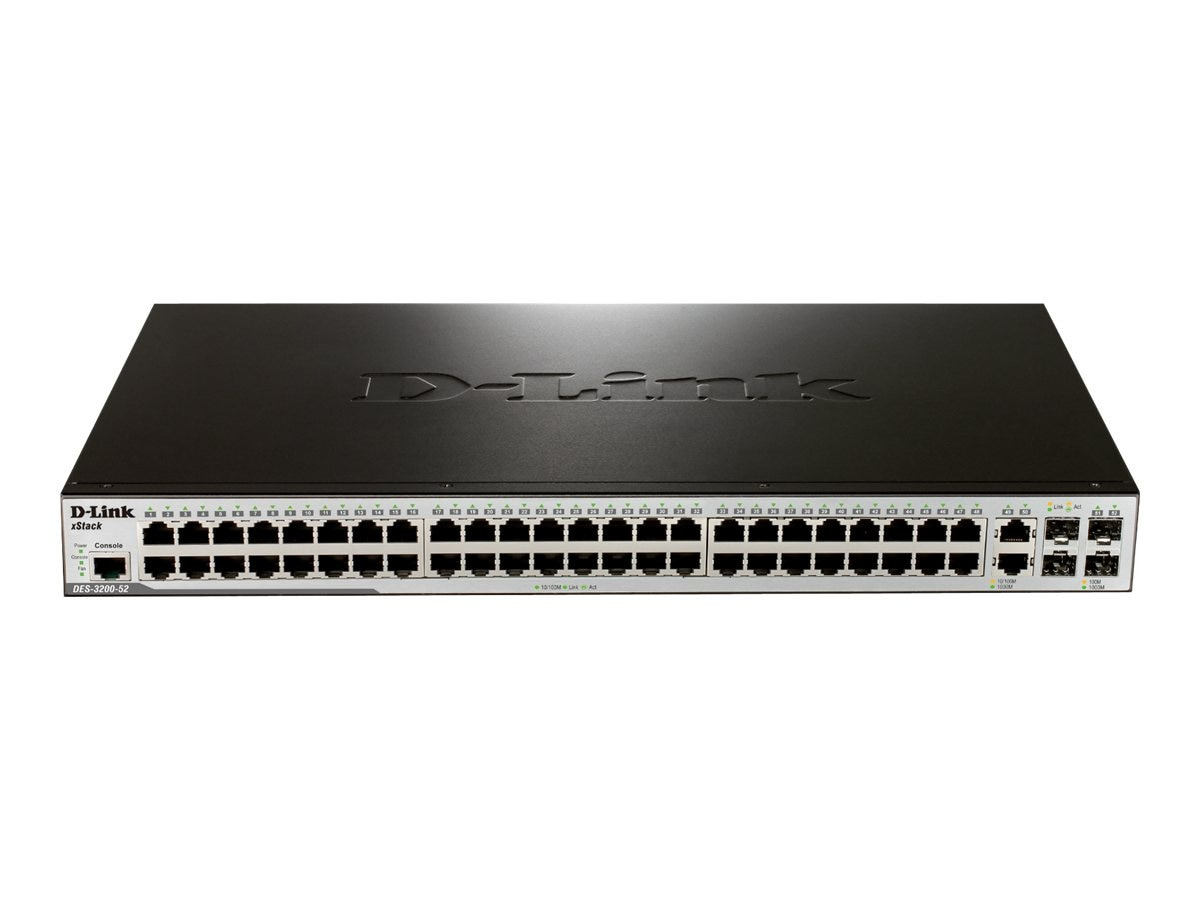D-Link DES-3200 Series Layer 2 Managed Switch w  (48) 10 100BaseT Ports, DES-3200-52