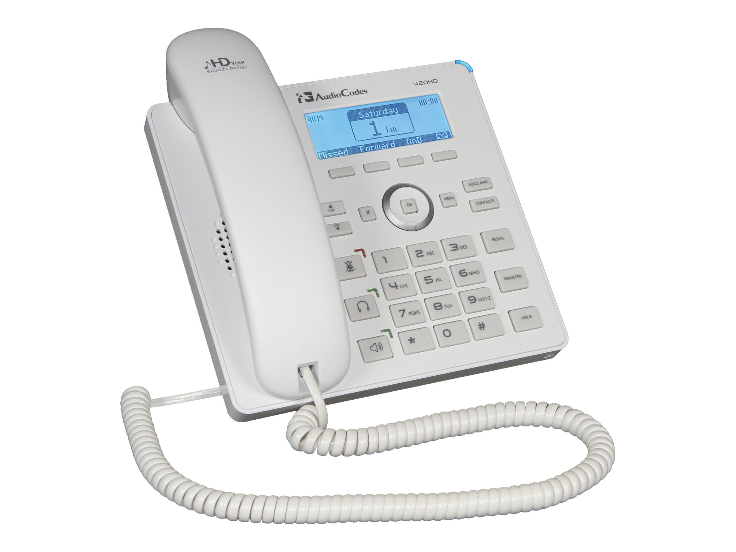 AudioCodes AudioCodes 420HD IP-Phone PoE, White, 2 lines, IP420HDEW
