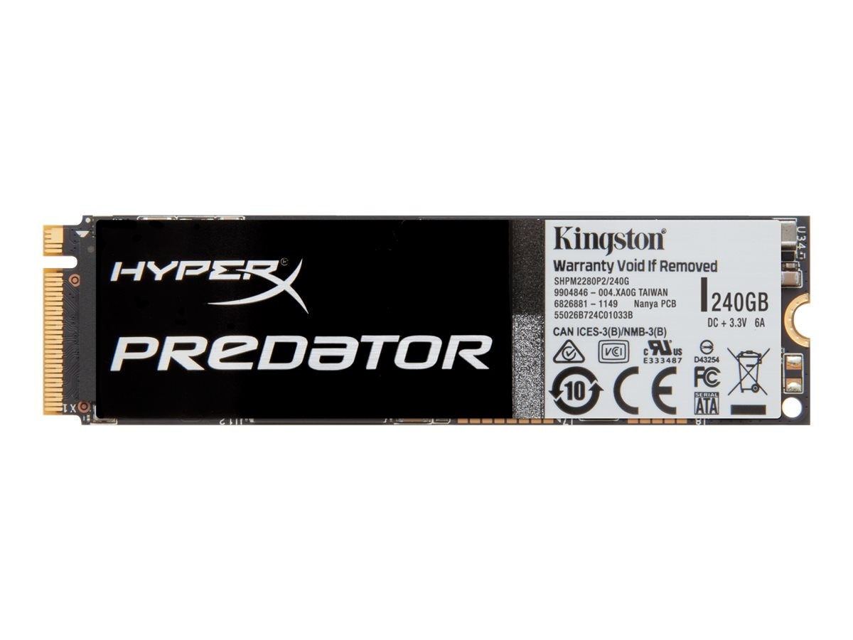 Kingston 240GB HyperX Predator PCIe Gen2 X4 M.2 Internal Solid State Drive, SHPM2280P2/240G, 19213292, Solid State Drives - Internal