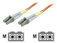 Manhattan LC-LC 50 125 OM2 Multimode Duplex Fiber Cable, Orange, 1m