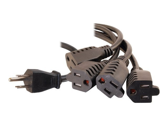 C2G 1-to-4 Power Cord Splitter, NEMA 5-15 (M) to 4x NEMA 5-15 (F), 29803, 7712422, Power Cords