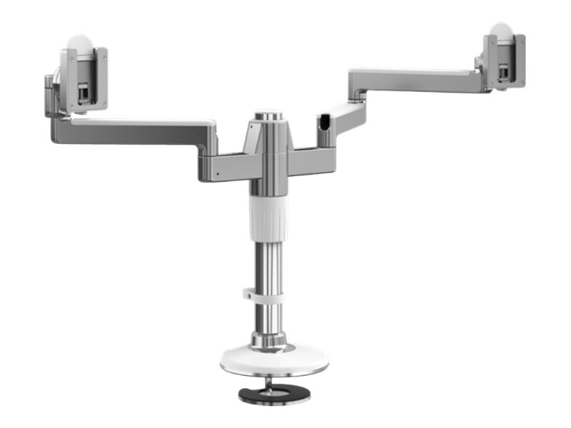 Humanscale MFlex Arm with Dual Display Support and Bolt Through Mount, Aluminum White