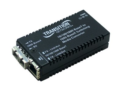 Transition Mini Converter 1550NM TX-10 100 1000B-T to 1000BLX, M/GE-PSW-LX-01(101), 11146646, Network Transceivers