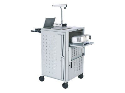 Bretford Manufacturing Pal Multimedia Presentation Cart with Electrical, Gray Mist