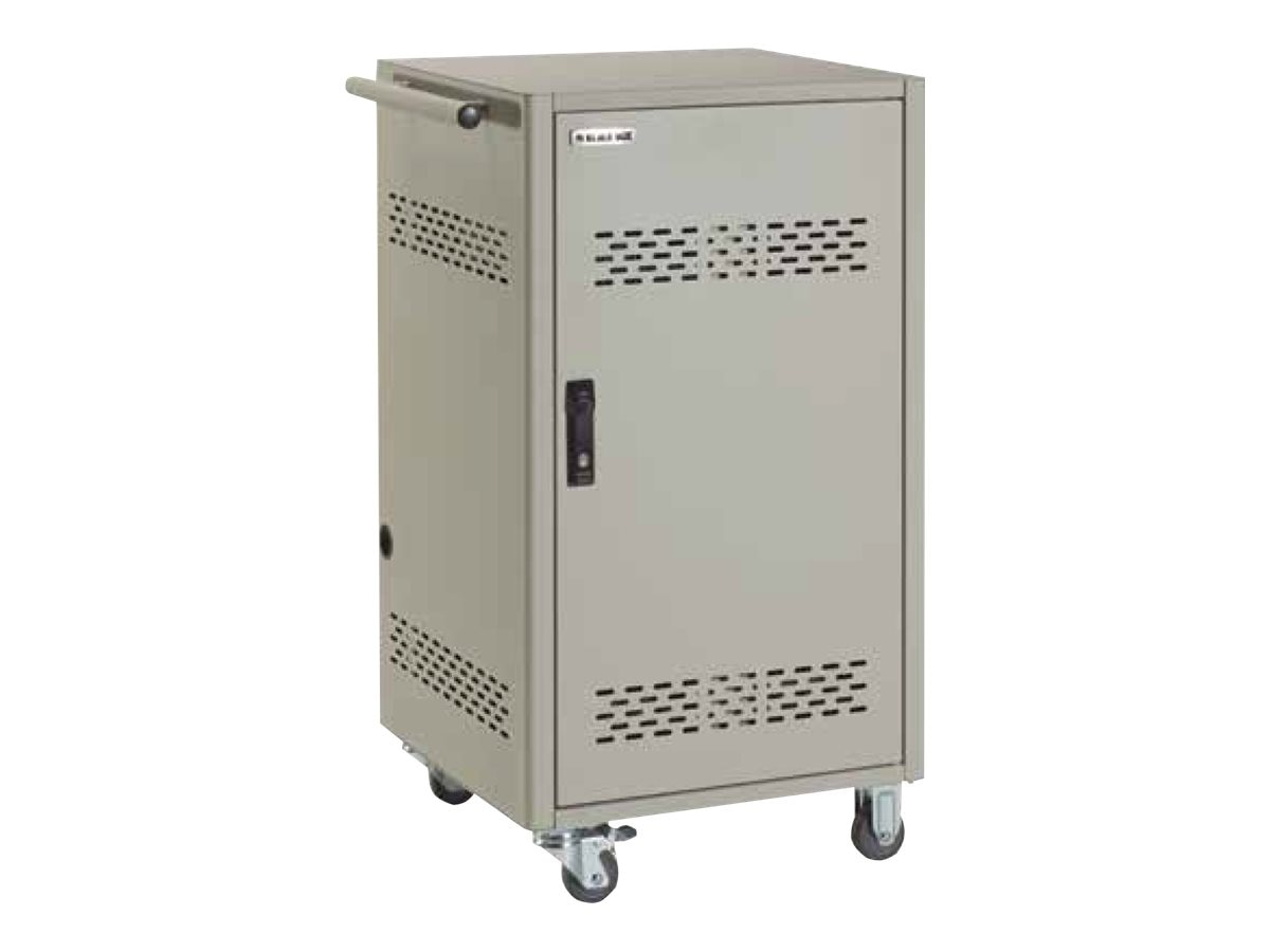 Black Box 36-Device iPad, Chromebook, Tablet, and Laptop Cart - Steel Top, Fixed Shelves, Hinged Door