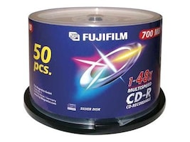 Fujifilm CD-R Print, White InkJet, 48X, 50-pack, 600002931, 9428329, CD Media