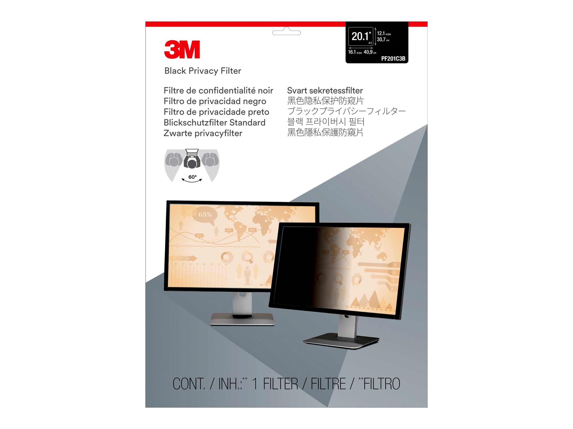 3M PF20.1 Privacy Filter for 20.1 4:3 Desktop LCD Monitor, PF201C3B