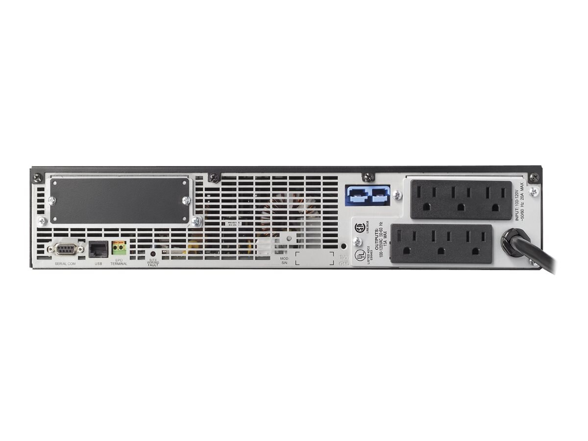 APC Smart-UPS RT 1500VA 1050W 2U Rack Tower 120V 5-15P Input 6ft Cord (6) 5-15R Outlets, SURTA1500RMXL2U