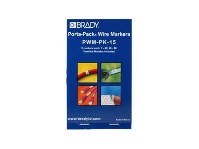 Brady Vinyl Cloth Porta-Pack Wire Markers, 1 to 45 and 46 to 90