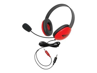 Listening First Stereo Headset with 3.5mm Plug, Red, 2800RD-AV, 16322531, Headsets (w/ microphone)