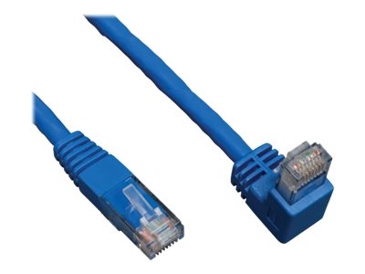 Tripp Lite Cat6 Patch Cable, Right Angle Down to Straight, Blue, 10ft, N204-010-BL-DN