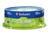 Verbatim 4x 700MB(80 mins) Branded CD-RW Media (25-pack Spindle), 95169, 6316452, CD Media