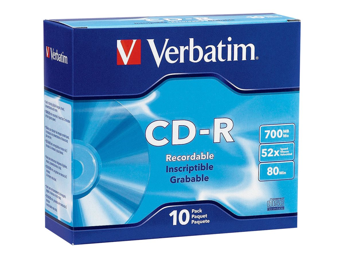 Verbatim 52x 700MB 80min. Branded CD-R Media (10-pack Soft Case), 94935, 10020030, CD Media