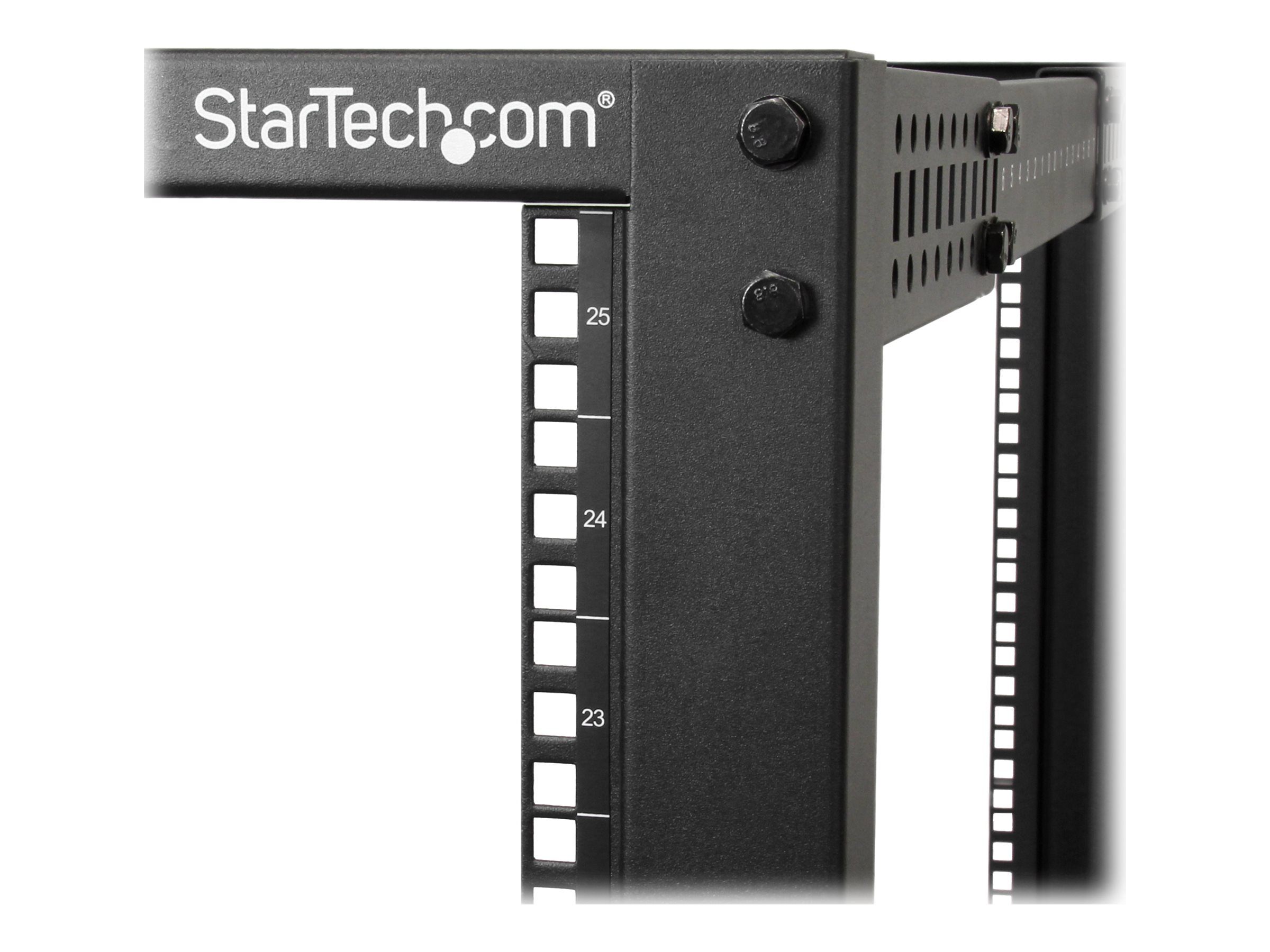 StarTech.com 25U Adjustable Depth Open Frame 4 Post Server Rack with Casters Levelers and Cable Management Hooks, 4POSTRACK25U