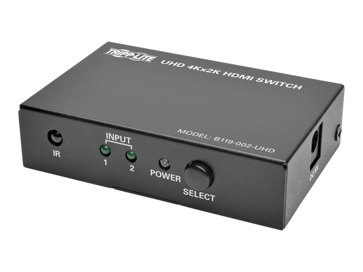 Tripp Lite 2-Port HDMI 4K x2K UHD @ 60Hz Switch for Video and Audio with Remote, B119-002-UHD