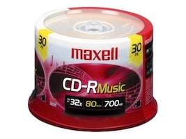 Maxell CD-R80 Music (30-pack Spindle), 625335, 6122885, CD Media