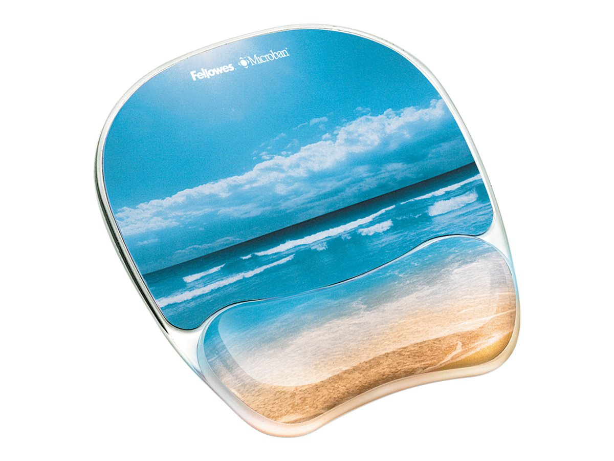 Fellowes Photo Gel Mouse Pad & Wrist Rest with Microban, Sandy Beach