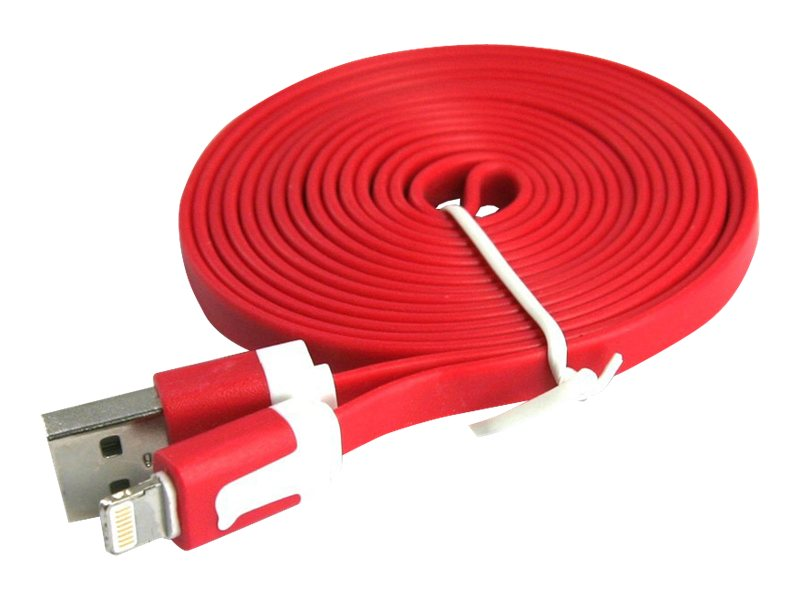 4Xem Lightning to USB 2.0 Type A M M Flat Cable, Red, 3ft