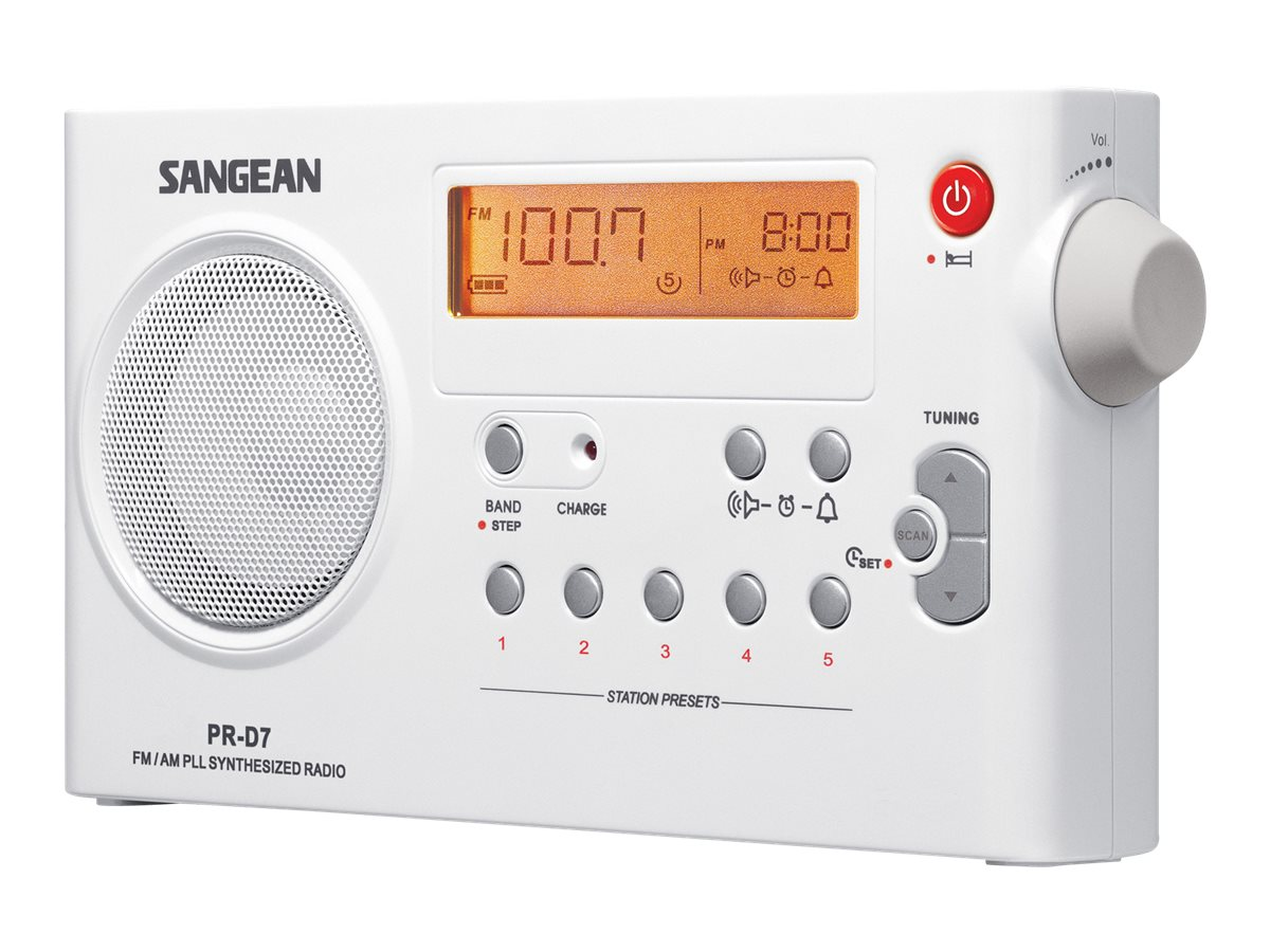 Sangean AM FM Rechargeable Receiver, PR-D7, 8725583, Stereo Components