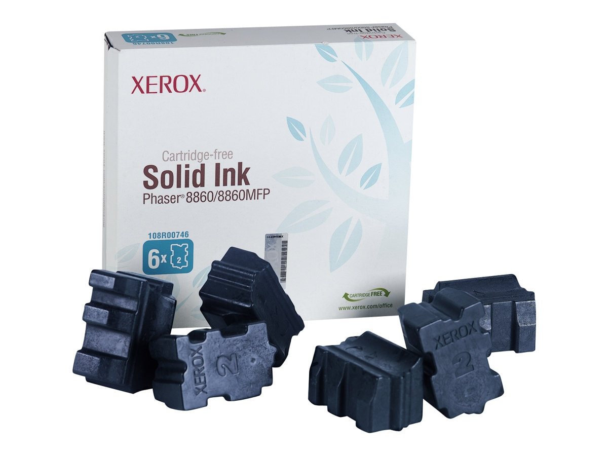 Xerox Cyan Solid Ink Sticks for Phaser 8860 & 8860MFP Series (6 Sticks), 108R00746, 8019734, Toner and Imaging Components