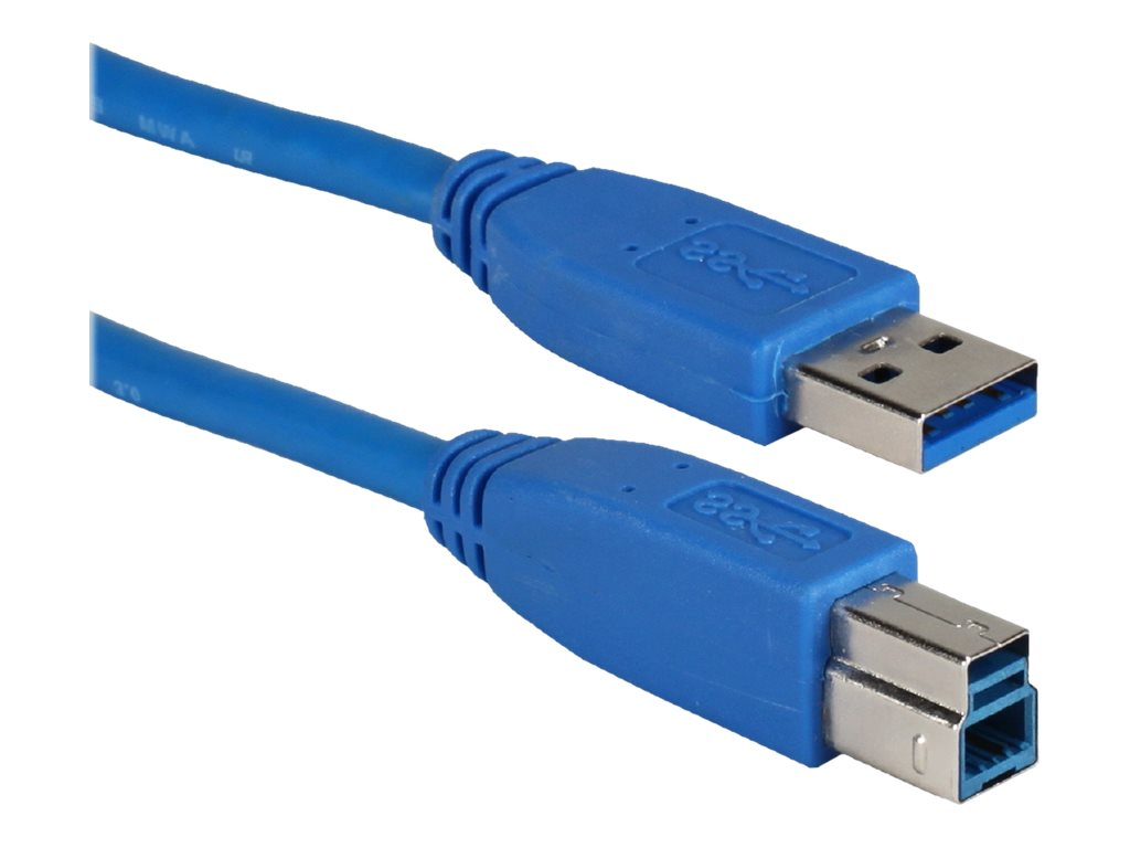 QVS USB 3.0 Compliant 5Gbps Type A Male to B Male Cable, Blue, 15ft, CC2219C-15