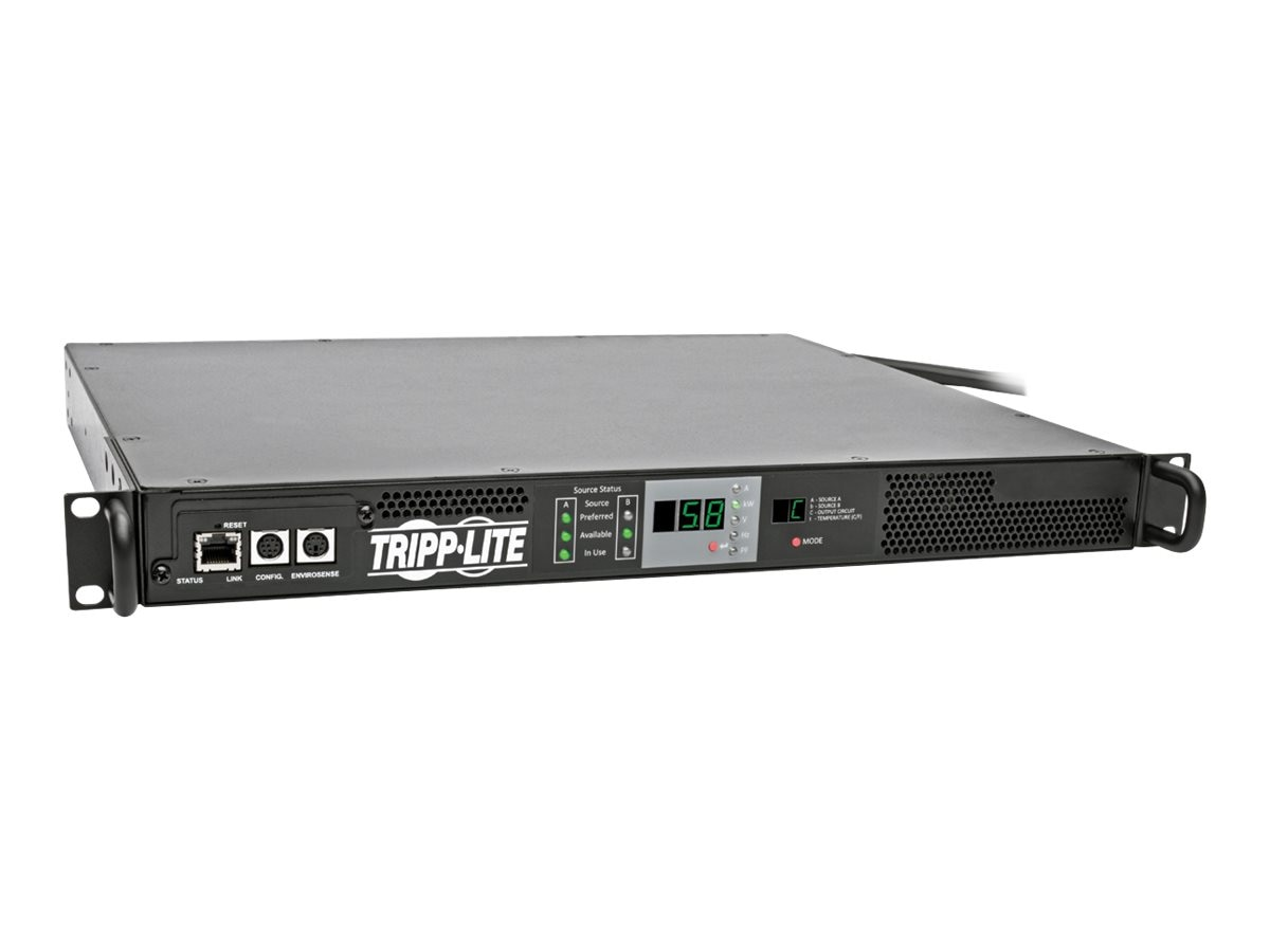 Tripp Lite ATS Monitored PDU 5.8kW 208 240V Single-Phase, 1U Rack-Mount, (2) L6-30P Input, L6-30R Outlet
