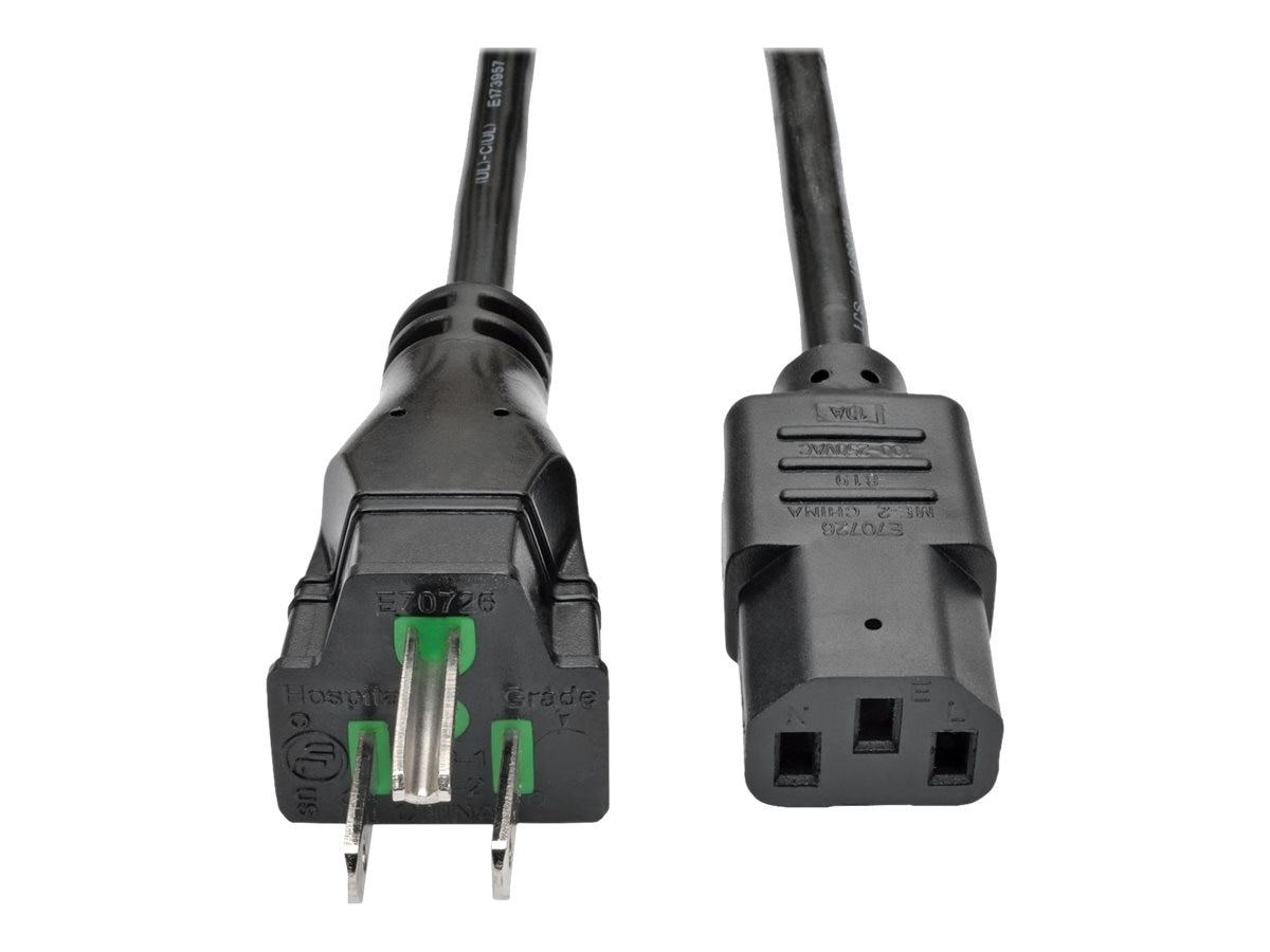 Tripp Lite Hospital-Grade Computer Power Cord, 10A, 18AWG, NEMA 5-15P to IEC-320-C13, Black, 15ft, P006-015-HG10