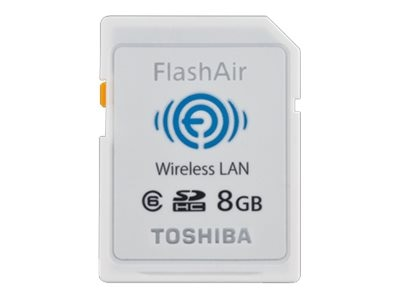 Toshiba 8GB FlashAir Wireless SD Card, Class 6, PFW008U-1ABW, 16450102, Memory - Flash