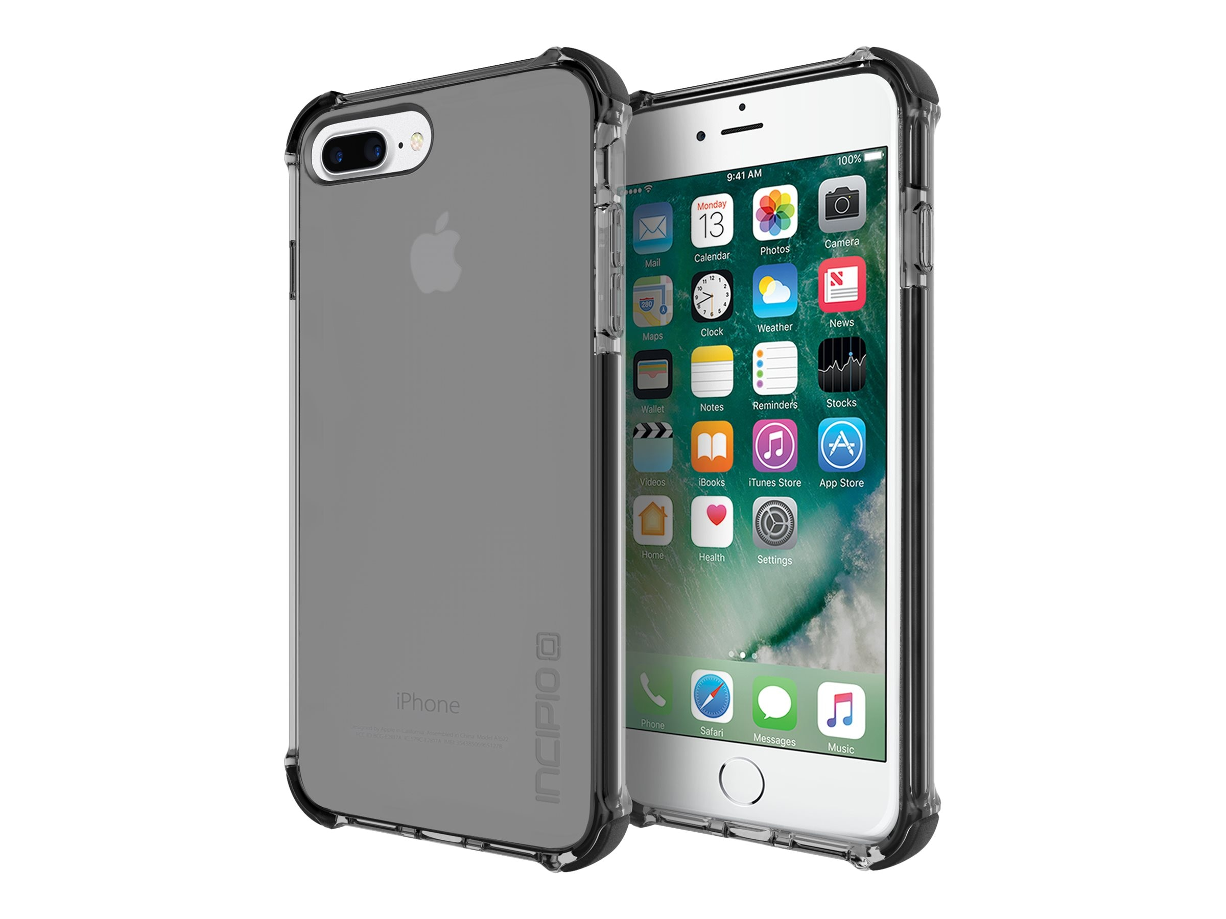 Incipio Reprieve Sport Protective Case with Reinforced Corners for iPhone 7 Plus, Smoke Black, IPH-1496-SBK