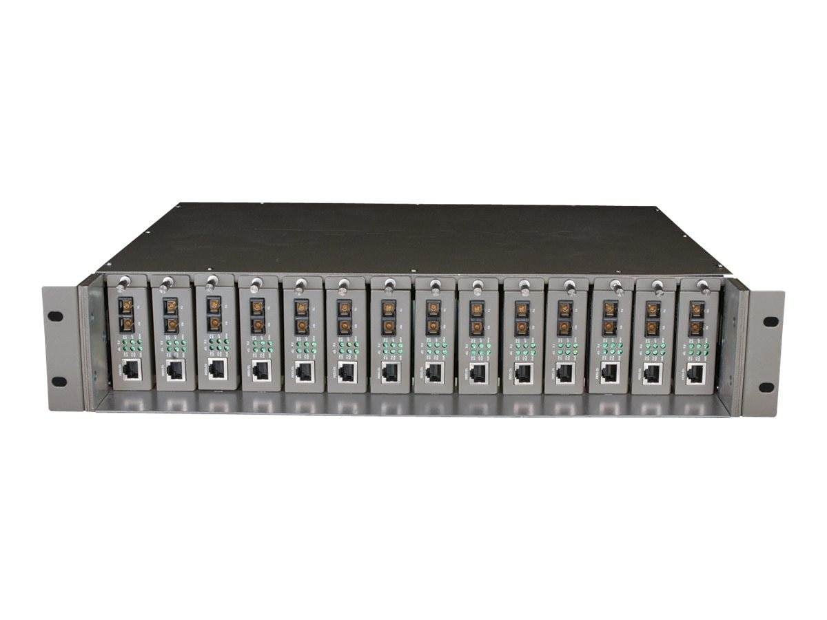 TP-LINK 19 Rack Mountable 14-slot Unmanaged Fiber Converter Chassis, Single Power Supply, 2 Cooling Fans