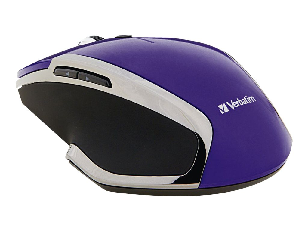 Verbatim Wireless Desktop 8-Button Deluxe Blue LED Mouse, Purple, 99020