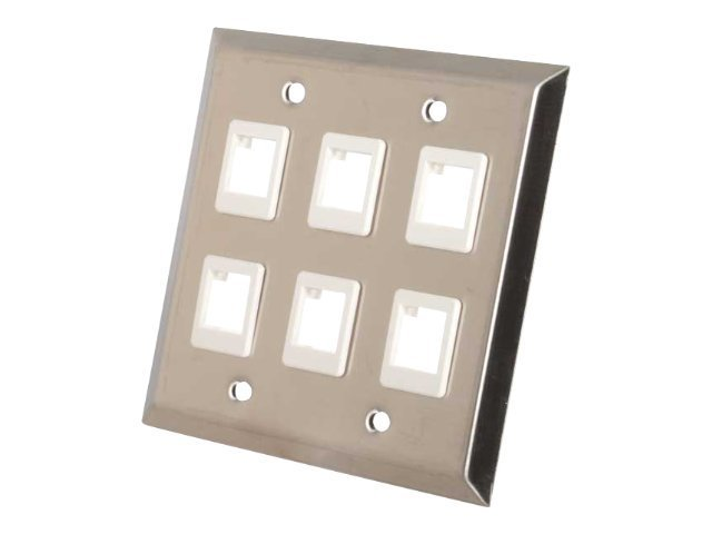 C2G 6-Port Keystone Double Gang Wall Plate, Stainless Steel