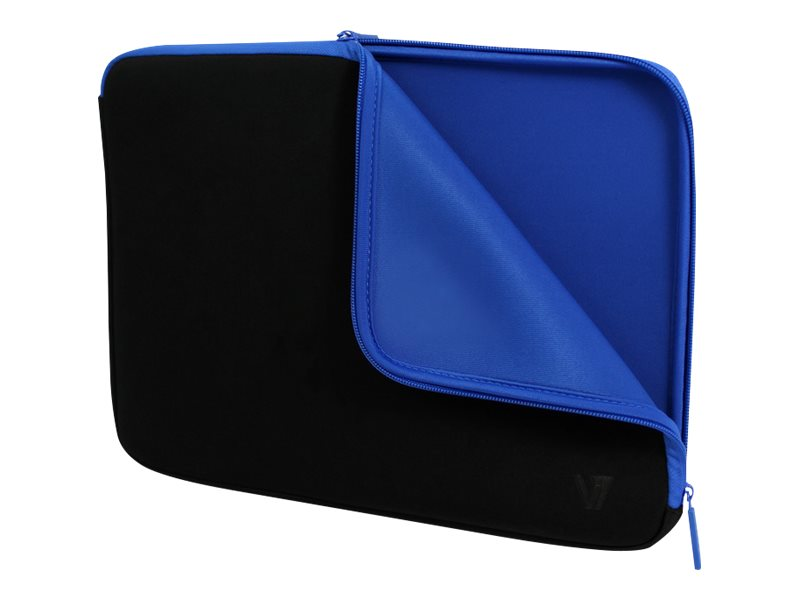 V7 Elite Neoprene Lycra Sleeve for 14 Notebook, Black Blue