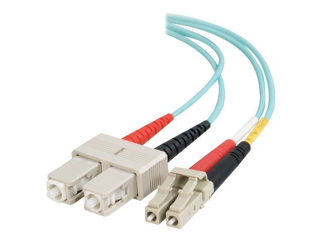 C2G 5m LC-SC 10Gb 50 125 OM3 Duplex Multimode PVC Fiber Optic Cable - Aqua, 33054, 5815516, Cables